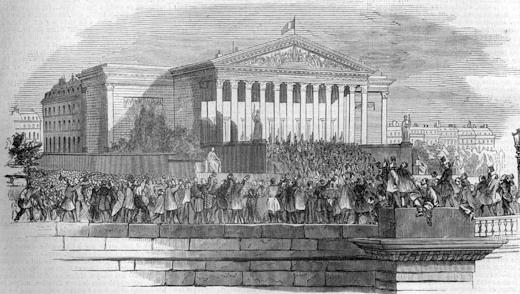 Proclamation officielle de la République sur le péristyle du palais de l'Assemblée nationale le 4 mai 1848 - L'Illustration, 13 mai 1848