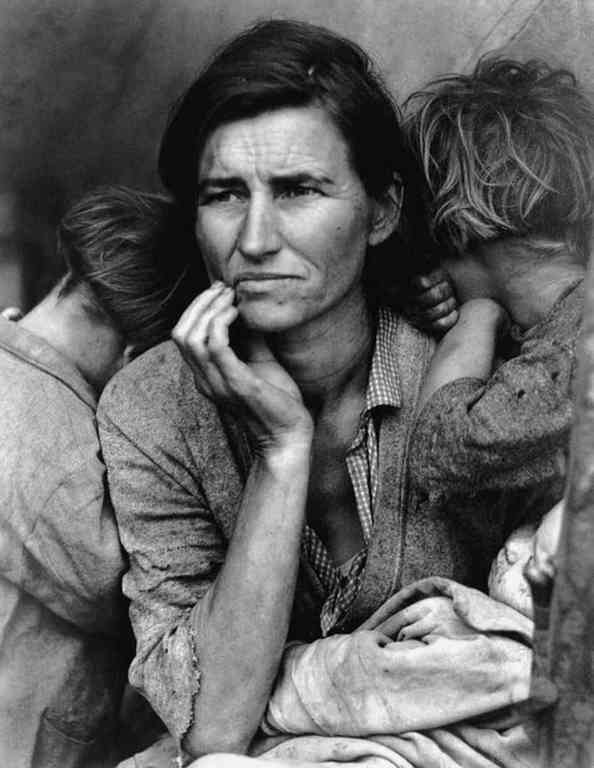 1936, au camp de Nipomo, en Californie. Photo Dorothea Lange / Library of Congress.